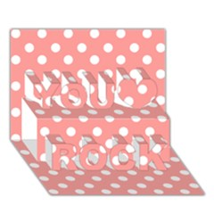 Coral And White Polka Dots You Rock 3D Greeting Card (7x5)
