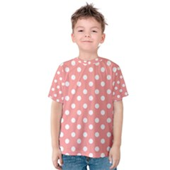 Coral And White Polka Dots Kid s Cotton Tee