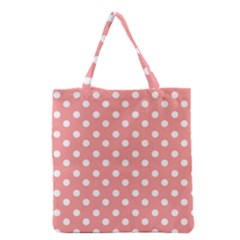 Coral And White Polka Dots Grocery Tote Bags