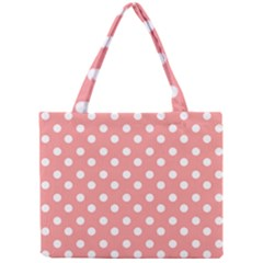 Coral And White Polka Dots Tiny Tote Bags