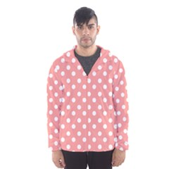 Coral And White Polka Dots Hooded Wind Breaker (Men)