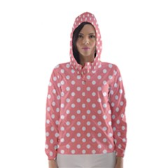 Coral And White Polka Dots Hooded Wind Breaker (Women)