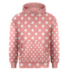 Coral And White Polka Dots Men s Pullover Hoodies