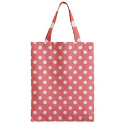 Coral And White Polka Dots Zipper Classic Tote Bags