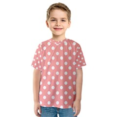 Coral And White Polka Dots Kid s Sport Mesh Tees