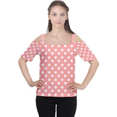 Coral And White Polka Dots Women s Cutout Shoulder Tee