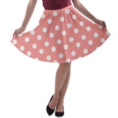 Coral And White Polka Dots A Line Skater Skirt