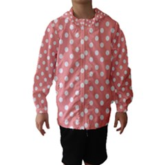 Coral And White Polka Dots Hooded Wind Breaker (Kids)
