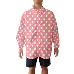 Coral And White Polka Dots Wind Breaker (Kids)