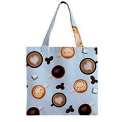 Cute Coffee Pattern On Light Blue Background Grocery Tote Bags