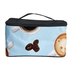 Cute Coffee Pattern On Light Blue Background Cosmetic Storage Cases