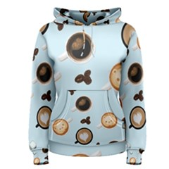 Cute Coffee Pattern on Light Blue Background Women s Pullover Hoodies