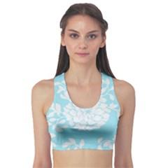 Aqua Blue Floral Pattern Sports Bra