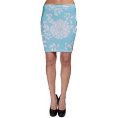 Aqua Blue Floral Pattern Bodycon Skirts