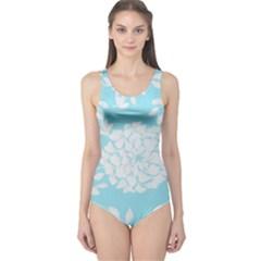Aqua Blue Floral Pattern One Piece Swimsuit