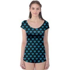 Blue Hearts Valentine s Day Pattern Short Sleeve Leotard