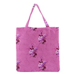 Pink Floral Pattern Grocery Tote Bags