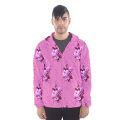 Pink Floral Pattern Hooded Wind Breaker (Men)