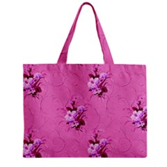 Pink Floral Pattern Zipper Tiny Tote Bags