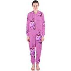 Pink Floral Pattern Hooded Jumpsuit (ladies)