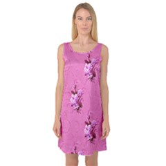 Pink Floral Pattern Sleeveless Satin Nightdresses