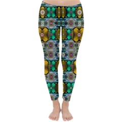 Rainbow flowers and Decorative peace  Winter Leggings