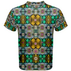 Rainbow flowers and Decorative peace  Men s Cotton Tee
