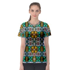 Rainbow Flowers And Decorative Peace  Women s Sport Mesh Tee