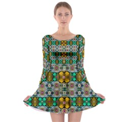 Rainbow flowers and Decorative peace  Long Sleeve Skater Dress