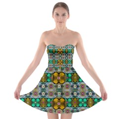 Rainbow Flowers And Decorative Peace  Strapless Bra Top Dress