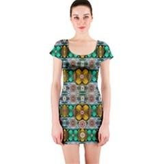 Rainbow Flowers And Decorative Peace  Short Sleeve Bodycon Dress