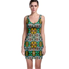 Rainbow flowers and Decorative peace  Bodycon Dress