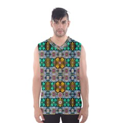 Rainbow flowers and Decorative peace  Men s Basketball Tank Top