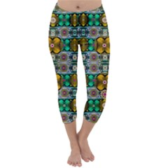 Rainbow Flowers And Decorative Peace  Capri Winter Leggings