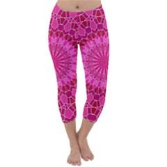 Pink and Red Mandala Capri Winter Leggings