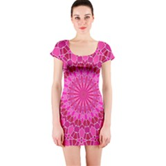 Pink And Red Mandala Short Sleeve Bodycon Dresses
