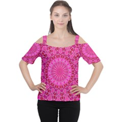 Pink And Red Mandala Women s Cutout Shoulder Tee