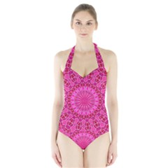 Pink And Red Mandala Women s Halter One Piece Swimsuit