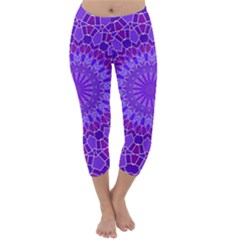Purple Mandala Capri Winter Leggings