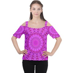 Purple and Pink Mandala Women s Cutout Shoulder Tee