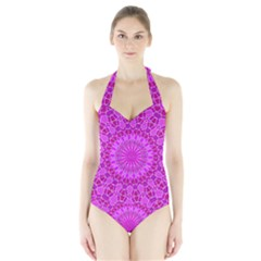 Purple and Pink Mandala Women s Halter One Piece Swimsuit
