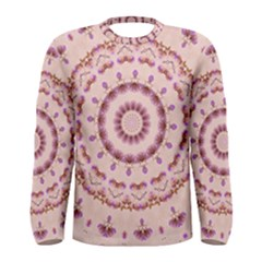 Pink and Purple Roses Mandala Men s Long Sleeve T-shirts
