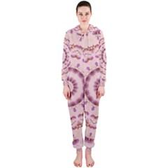 Pink and Purple Roses Mandala Hooded Jumpsuit (Ladies)