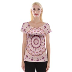 Pink and Purple Roses Mandala Women s Cap Sleeve Top