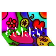Colorful Modern Love 2 SORRY 3D Greeting Card (8x4)