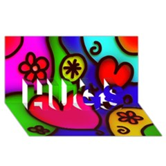 Colorful Modern Love 2 Hugs 3d Greeting Card (8x4)