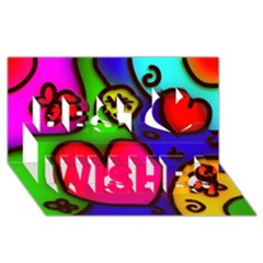 Colorful Modern Love 2 Best Wish 3d Greeting Card (8x4)