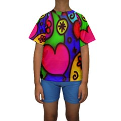 Colorful Modern Love 2 Kid s Short Sleeve Swimwear
