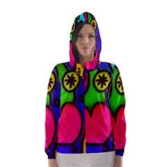 Colorful Modern Love 2 Hooded Wind Breaker (Women)