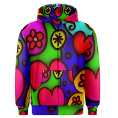 Colorful Modern Love 2 Men s Zipper Hoodies